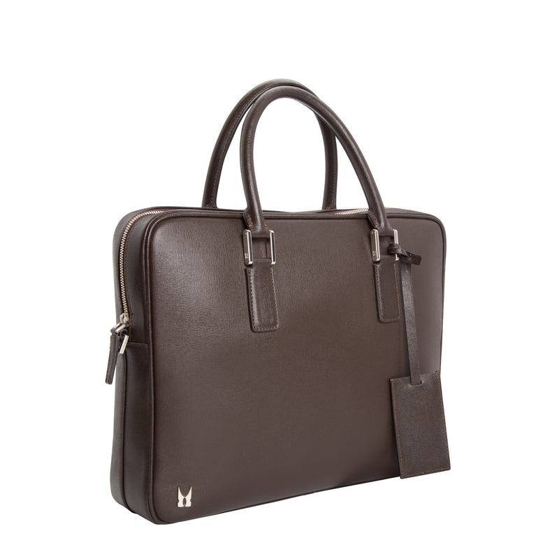 Dark brown printed leather briefcase