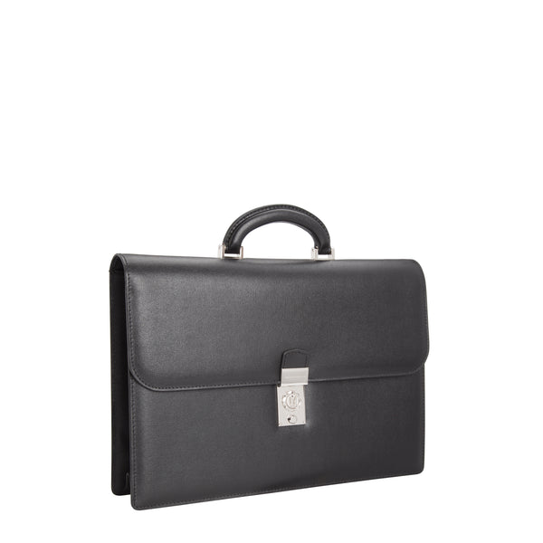 Black printed leather briefcase with watch lock