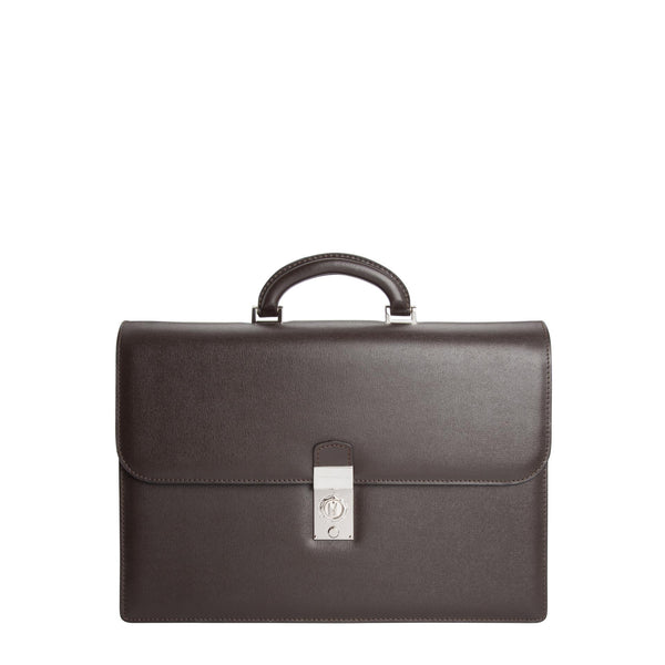 Dark brown printed leather briefcase with watch lock