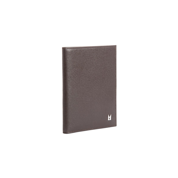 Brown printed leather vertical wallet