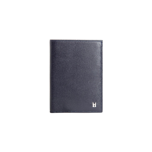 Dark blue printed leather vertical wallet