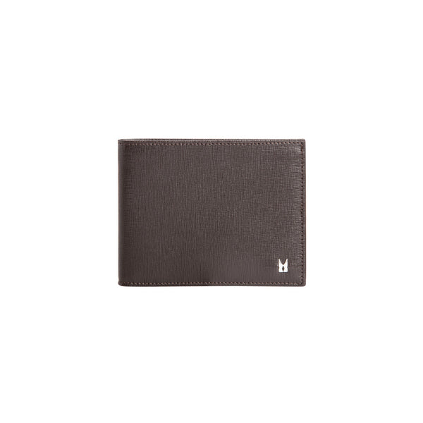 Dark brown printed leather wallet