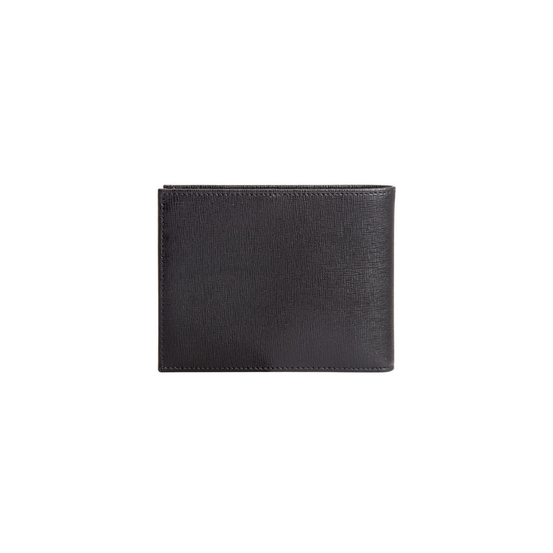 Black printed leather wallet with coin pocket