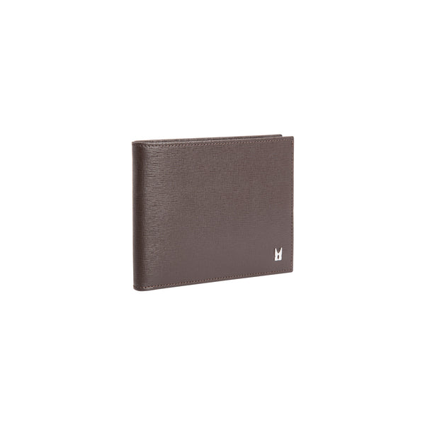 Brown printed leather wallet with coin pocket