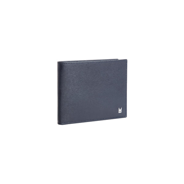 Dark blue printed leather wallet with coin pocket