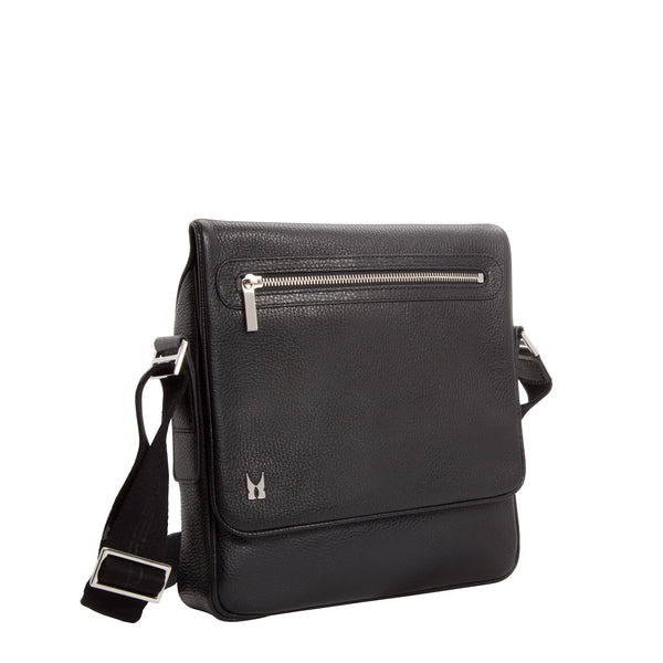 Black calfskin leather messenger bag