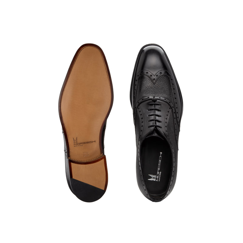 Black Deerskin and calfskin Oxford shoes