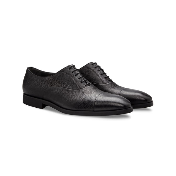 Black Deerskin Oxford Moreschi handmade italian shoes