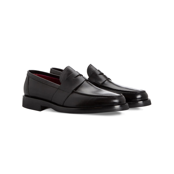 Black buffalo loafer shoes handmade italian shoes