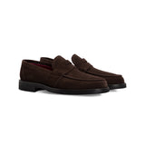 Dark brown suede loafer handmade italian shoes