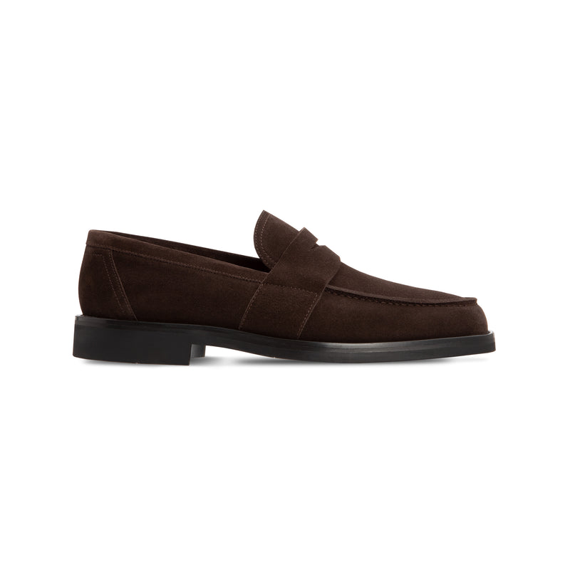 Dark brown suede loafer Luxury italian shoes