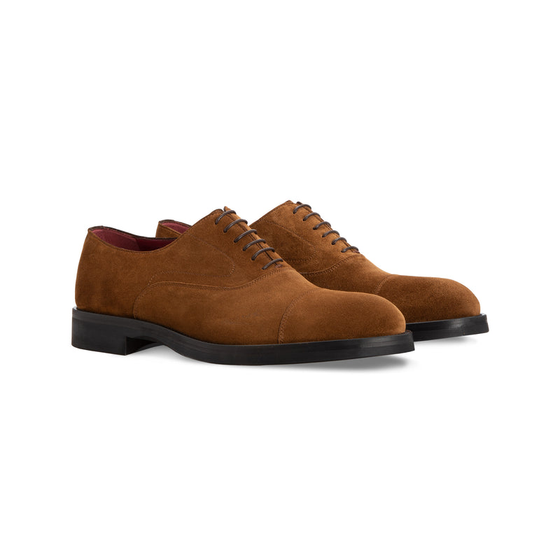 Brown calfskin Oxford handmade italian shoes