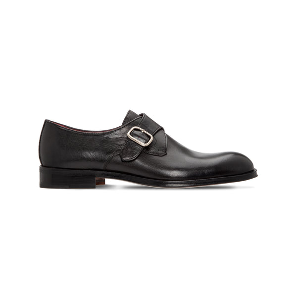 Black buffalo leather single buckle shoes Luxury italian shoes