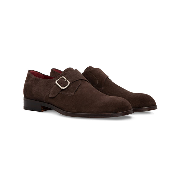 Dark brown suede single buckle handmade italian shoes