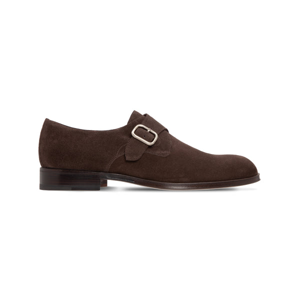 Dark brown suede single buckle Luxury italian shoes