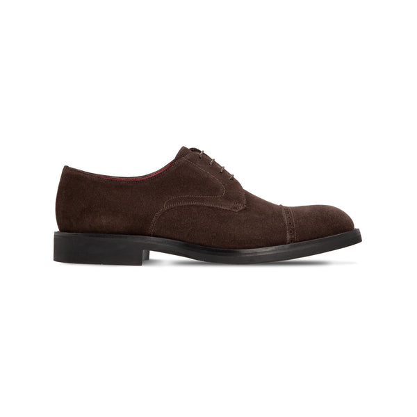 Dark brown suede derby shoes