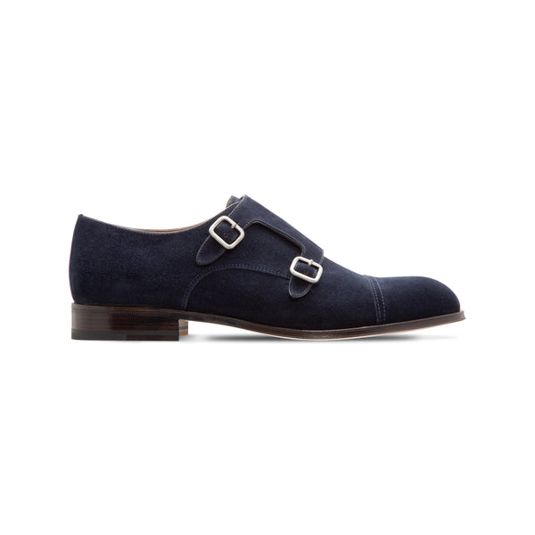 Dark blue suede double monk
