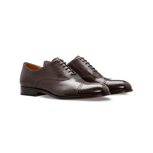 Dark brown buffalo leather Oxford shoes Moreschi handmade italian shoes