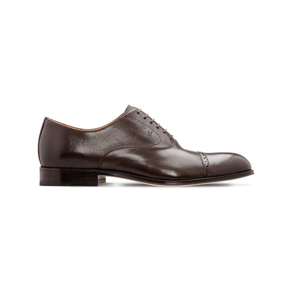 Dark brown buffalo leather Oxford shoes Luxury italian shoes