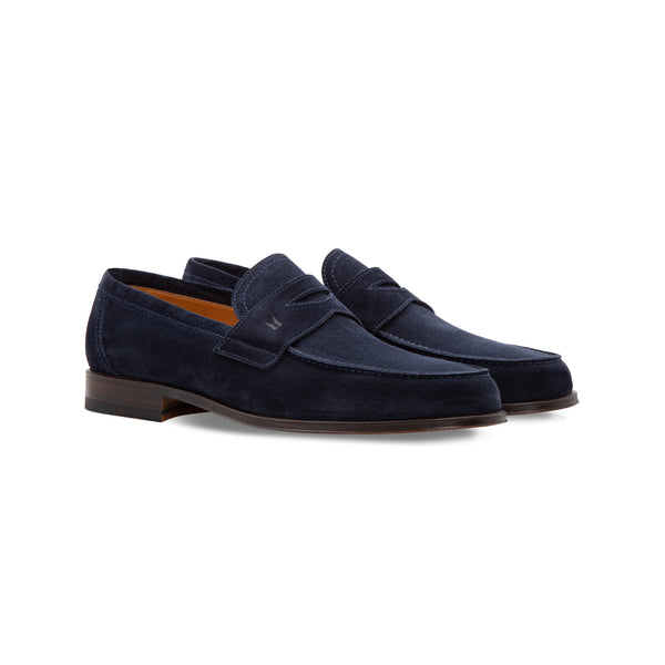 Dark blue suede loafer Handmade italian shoes