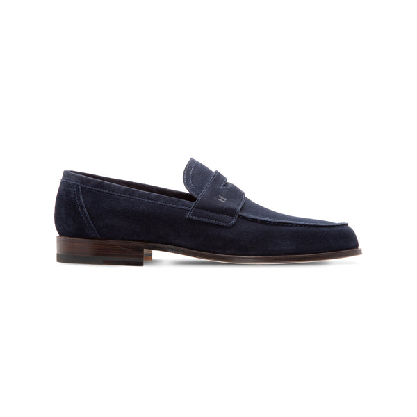 Dark blue suede loafer Moreschi Luxury italian shoes