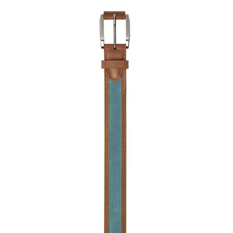 Denim color and Brown leather Belt