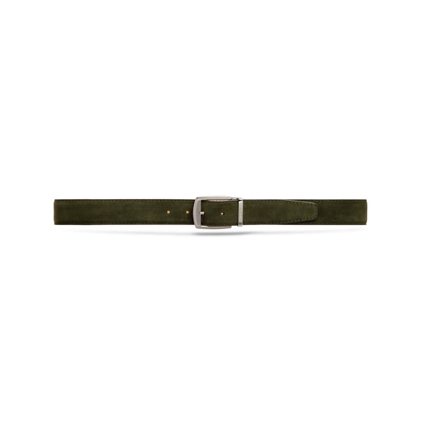 Dark green suede leather belt