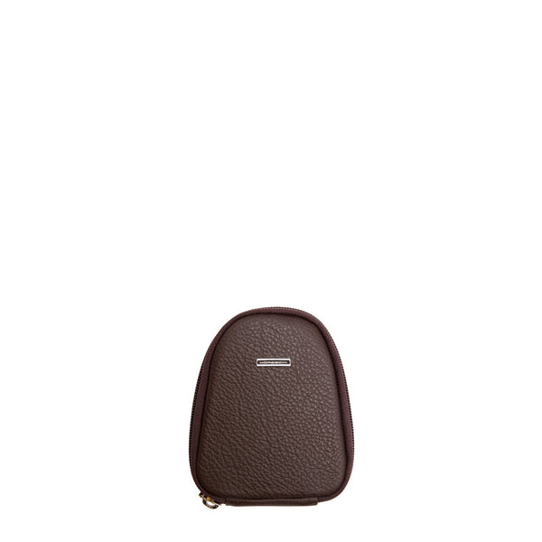 Calfskin shoe care travel pouch brown