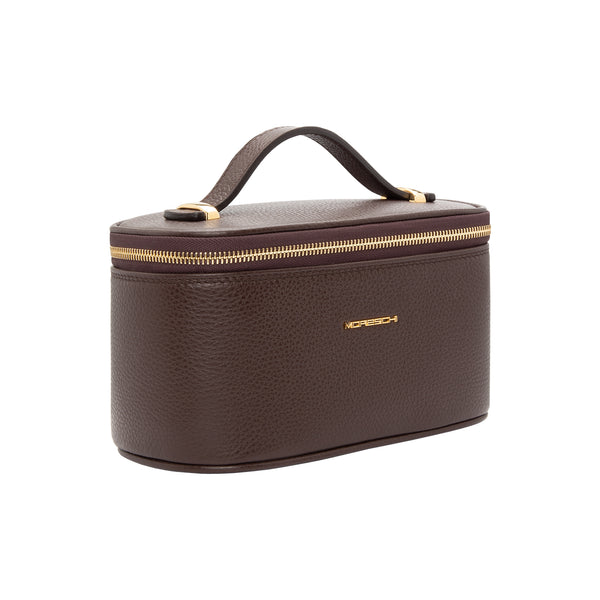 Dark Brown leather Beauty Case