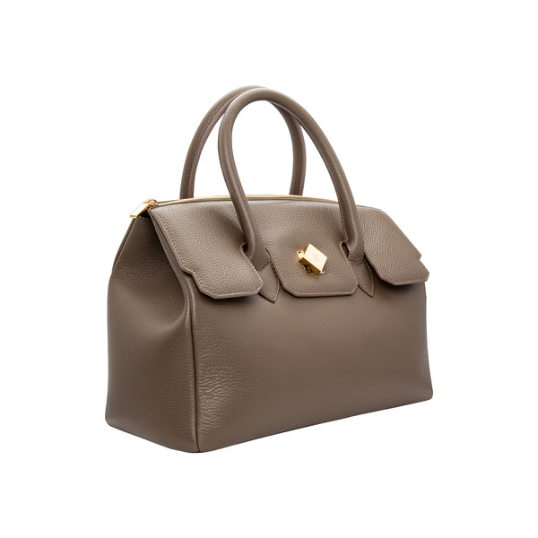 Borsa a mano in pelle taupe