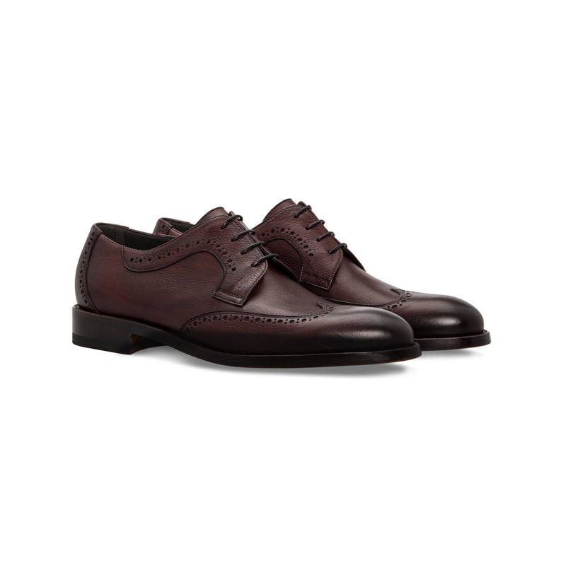 Bordeaux calfskin derby shoes