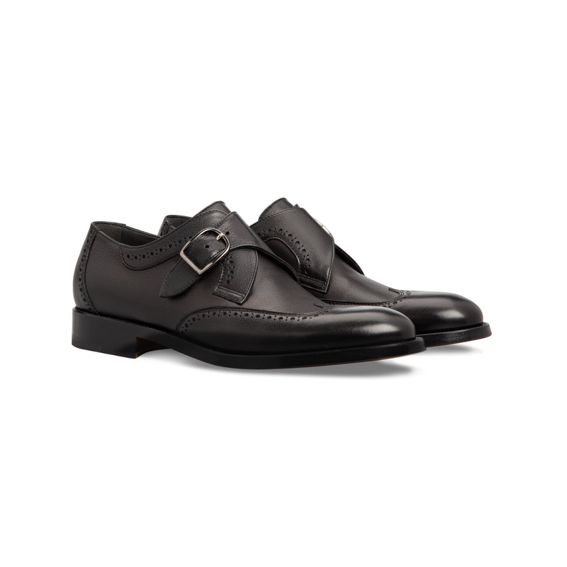 Black calfskin single buckle Moreschi handmade italian shoes