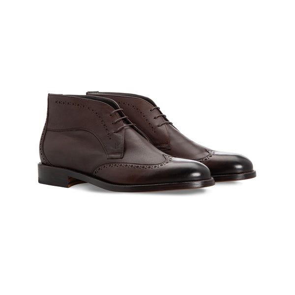 Dark brown calfskin ankle boots handmade italian shoes