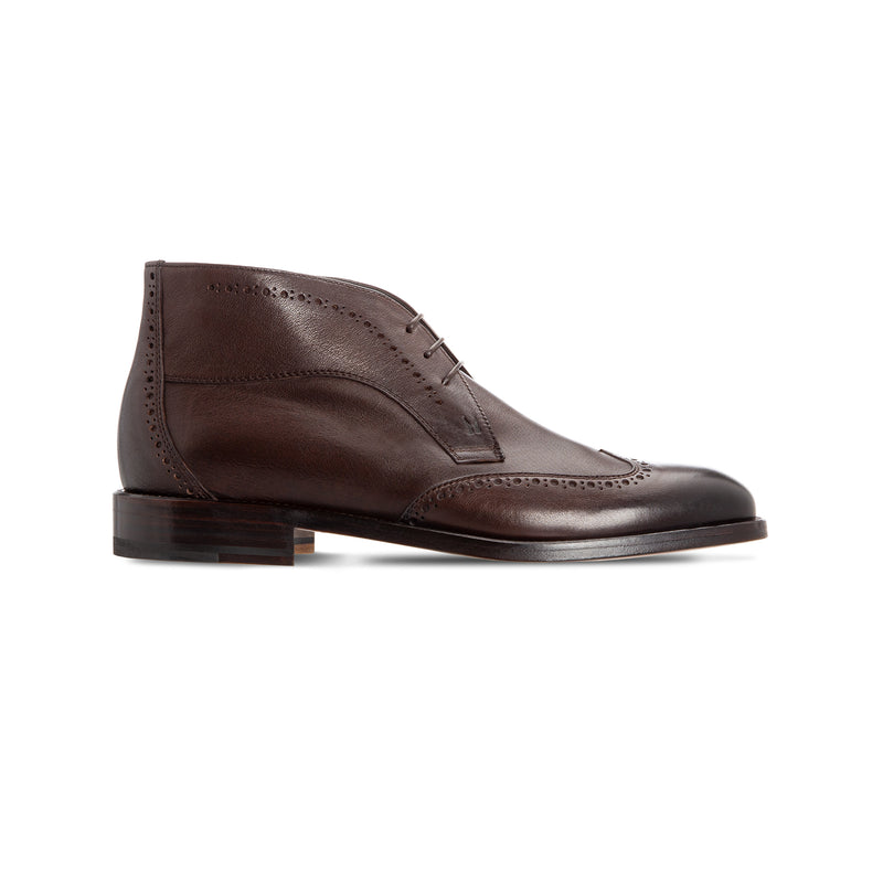 Dark brown calfskin ankle boots Moreschi Luxury italian shoes