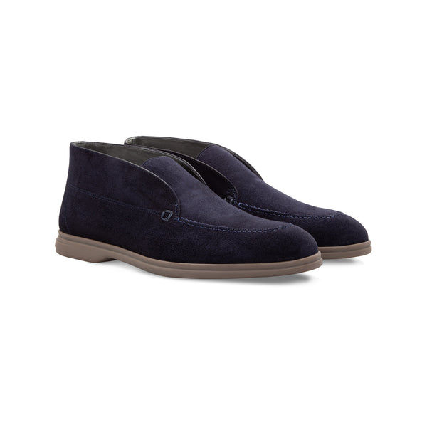 Dark blue suede Ankle boots
