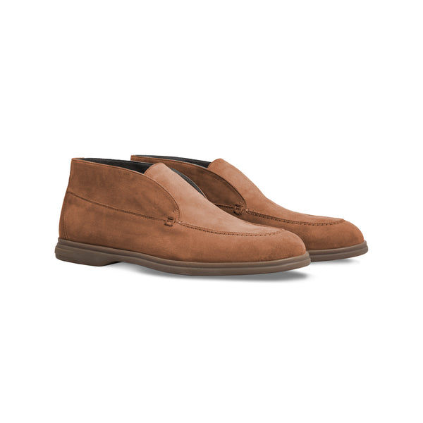 Brown suede ankle boots Moreschi formal italian shoes