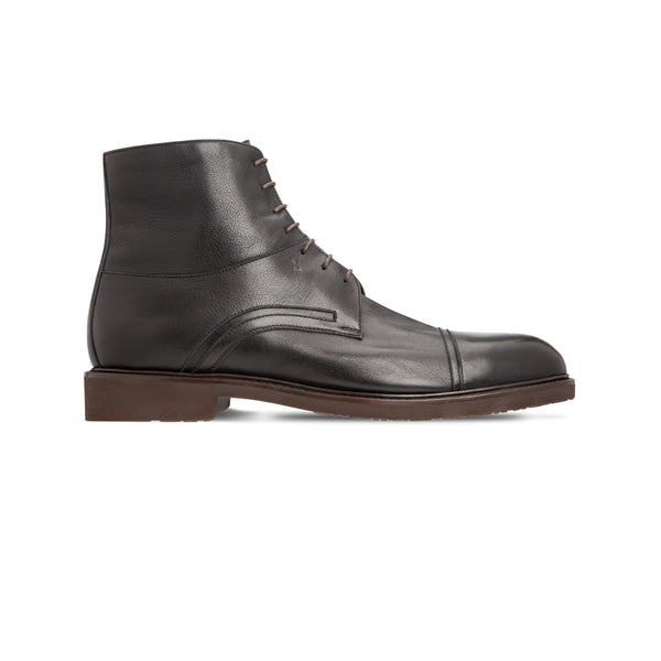 Black calfskin ankle boots