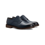 Dark blue calfskin derby Moreschi handmade italian shoes