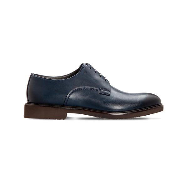 Dark blue calfskin derby Luxury italian shoes
