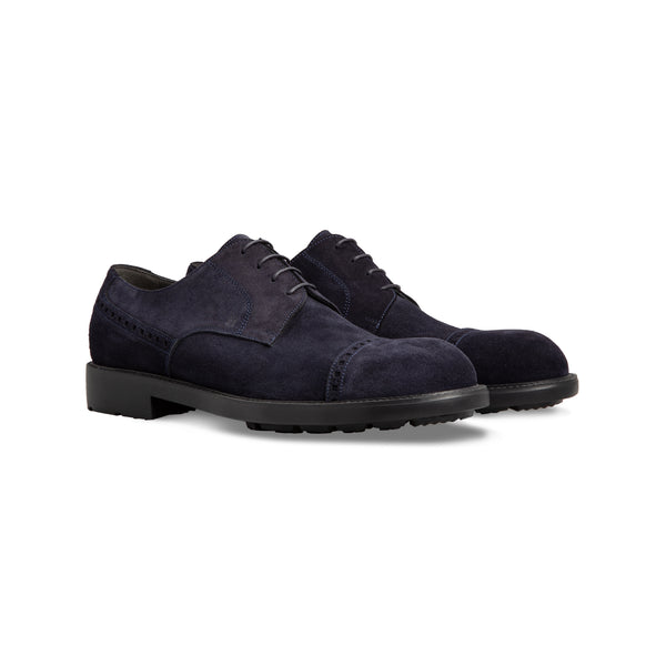 Dark blue suede derby shoes