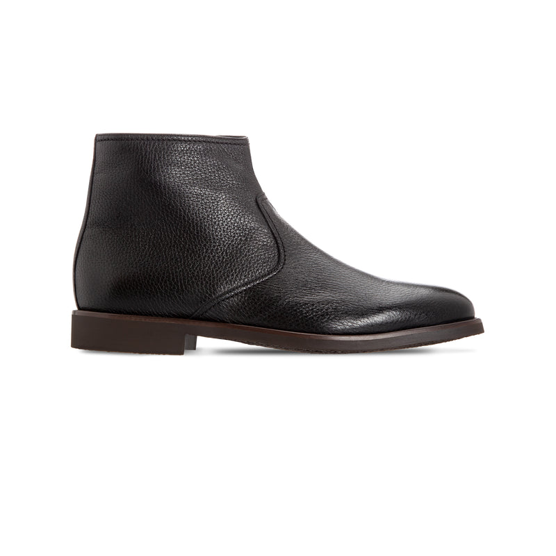 Black deerskin ankle Boots Luxury italian shoes