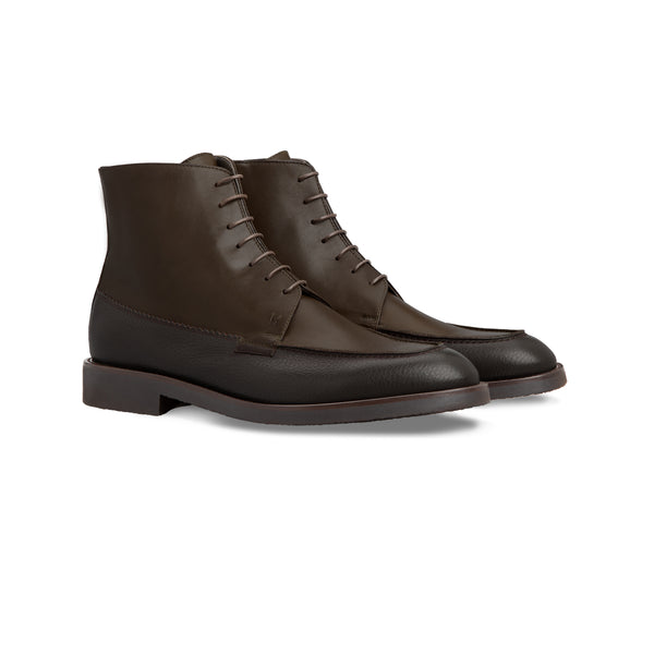 Dark brown calfskin ankle boots Moreschi handmade italian shoes