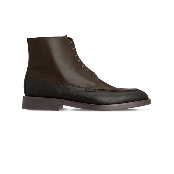 Dark brown calfskin ankle boots Luxury italian shoes