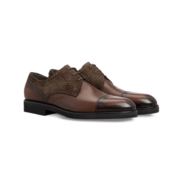 Dark brown calfskin derby shoes