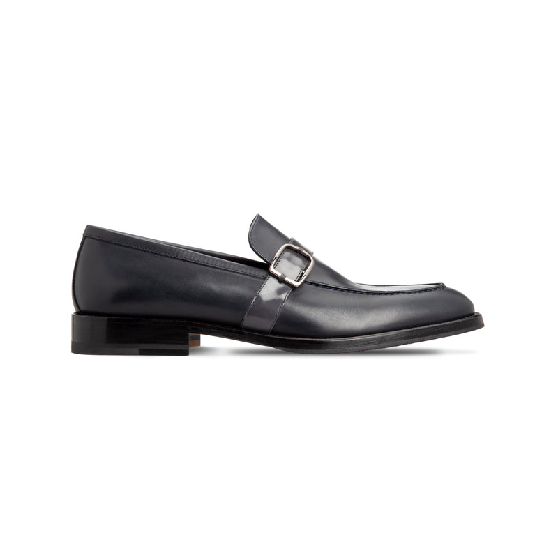 Dark blue calfskin loafer shoes