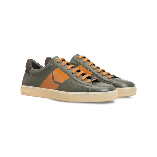 Green deerskin sneakers
