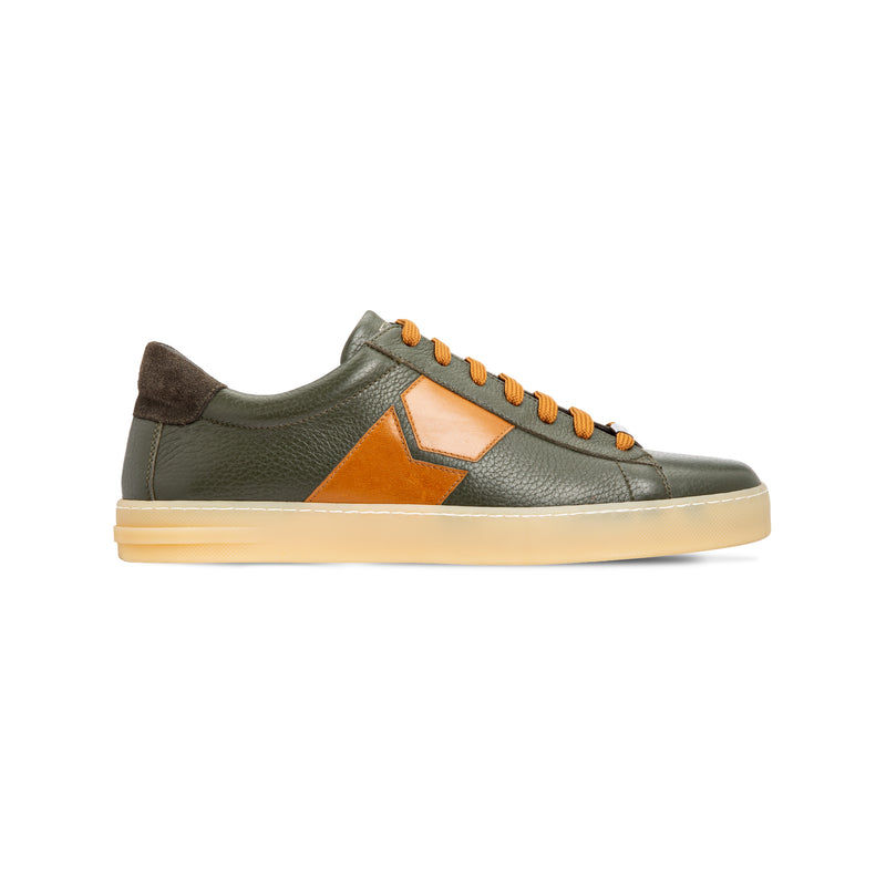 Green deerskin sneakers  Luxury italian shoes
