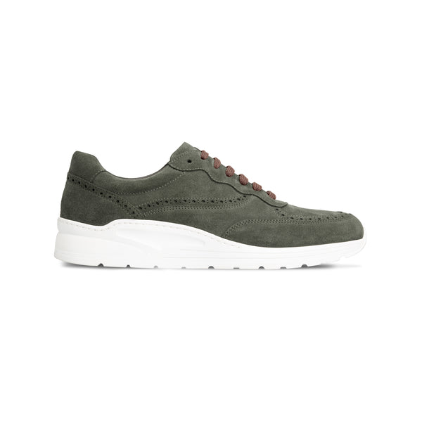 Dark green suede sneakers Luxury italian shoes