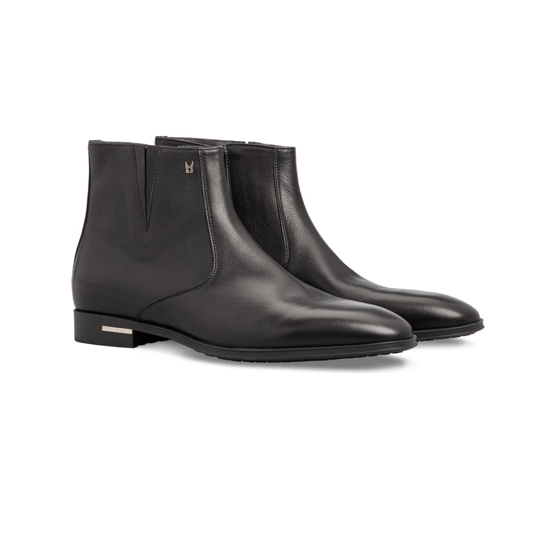 Black calfskin ankle Boots Handmade italian shoes