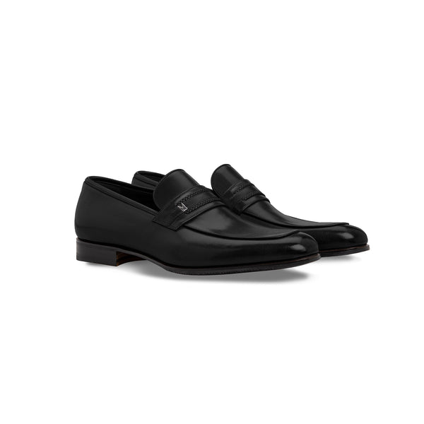 Black buffalo leather loafer shoes